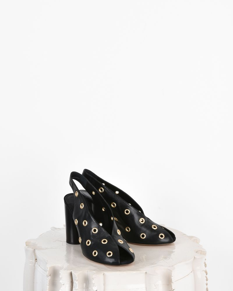 Meirid Eyelet detail leather high heel mules ISABEL MARANT
