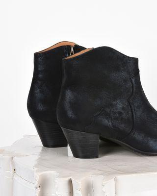 ISABEL MARANT BOOTS D Dicker Metallic suede mid heel ankle boots d