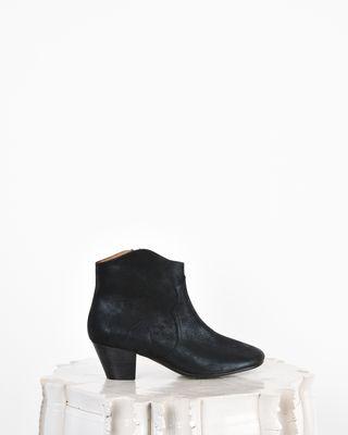 Dicker Metallic suede mid heel ankle boots
