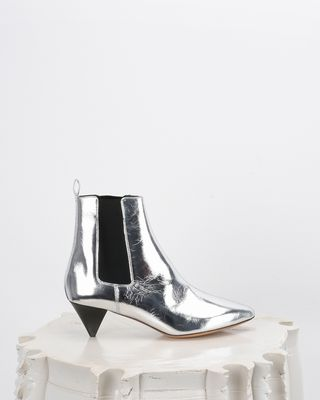 Dawell Leather mid-heel ankle boots with stretch panels