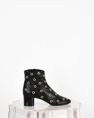 Danay Eyelet detail leather mid heel ankle boots