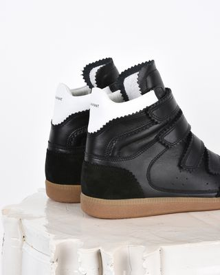 ISABEL MARANT SNEAKERS Woman Bilsy Suede and leather high top wedge heel Velcro trainers d
