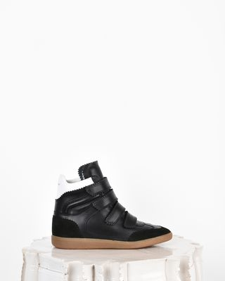 Bilsy Suede and leather high top wedge heel Velcro sneakers