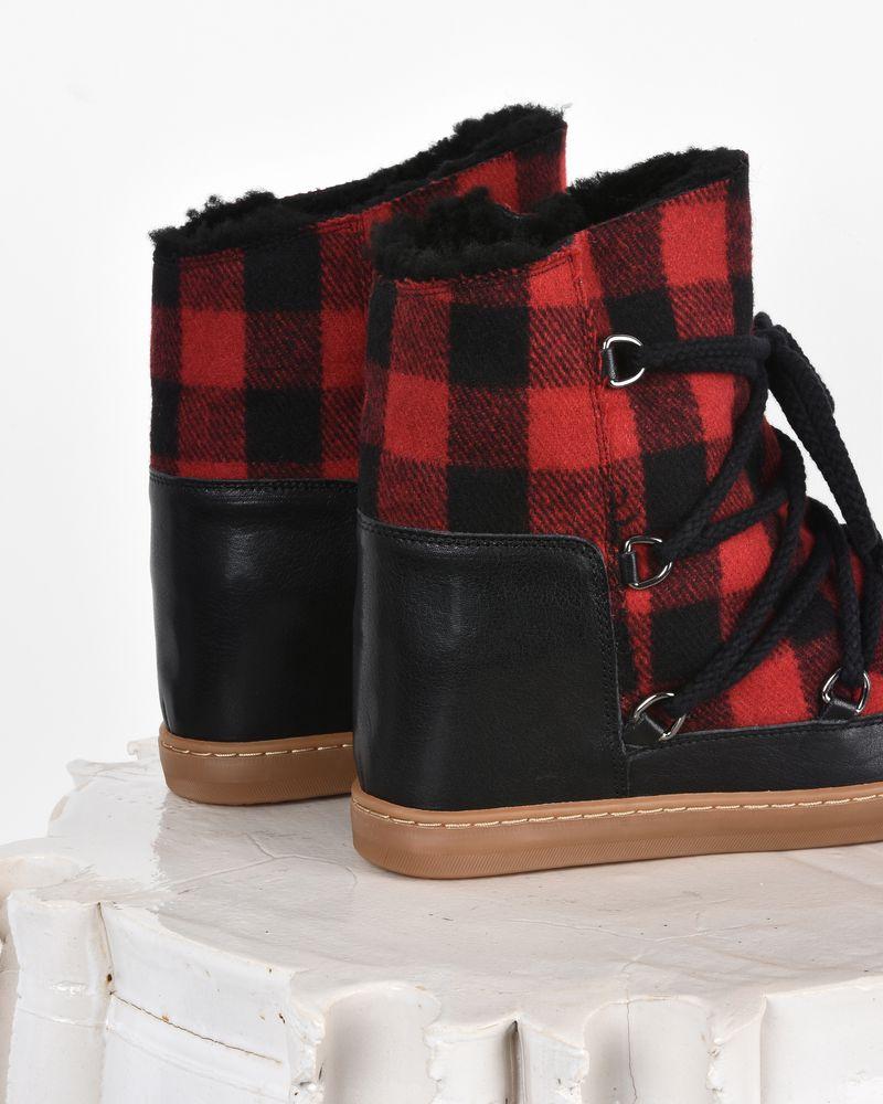 """Nowles Sneakers stile """"stivale da neve"""" in pelle e lana con zeppa  ISABEL MARANT"""