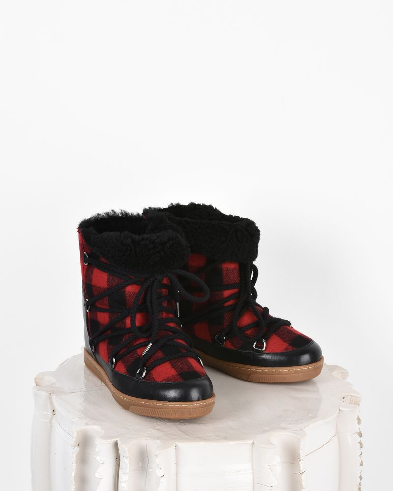 "Nowles Leather and wool wedge heel ""snow boot"" sneakers  ISABEL MARANT"