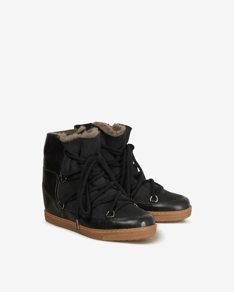 "Nowles Leather and suede wedge heel ""snow boot"" sneakers  ISABEL MARANT"