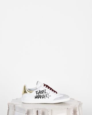 Bryce Printed leather and suede lace up sneakers