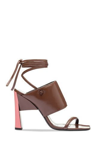 Marni Lacing sandal in nappa brown Woman
