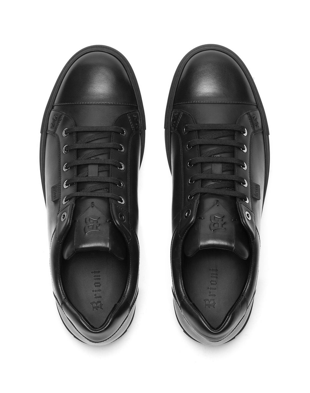 BRIONI Black Calfskin Sneakers Sneakers Man r