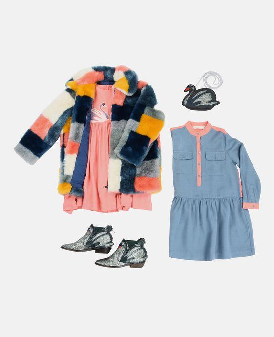 STELLA McCARTNEY KIDS Bottines Lily bleues avec cygnes Chaussures & Accessoires D q