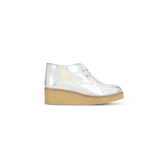 Wendy 银色闪亮坡跟鞋