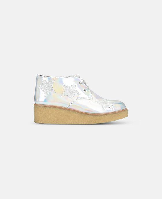 STELLA McCARTNEY KIDS Bottines Wendy argentées et scintillantes à semelle compensée Chaussures & Accessoires D c