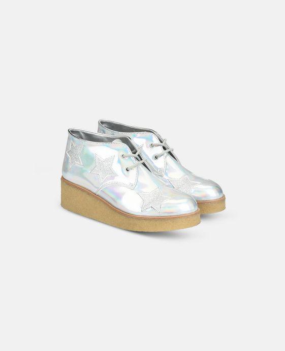 STELLA McCARTNEY KIDS Bottines Wendy argentées et scintillantes à semelle compensée Chaussures & Accessoires D i