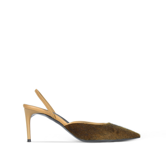Khaki Slingback Alter Pony Pumps