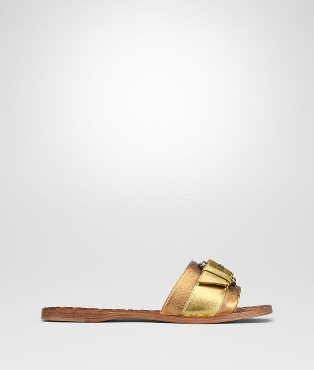 BOTTEGA VENETA RAVELLO SANDAL IN LIGHT GOLD ORO ANTIQUE NAPPA Pump or Sandal Woman fp