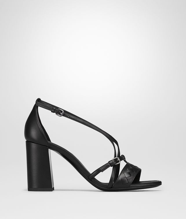 BOTTEGA VENETA CHERBOURG SANDAL IN NERO NAPPA, INTRECCIATO DETAILS Sandals [*** pickupInStoreShipping_info ***] fp