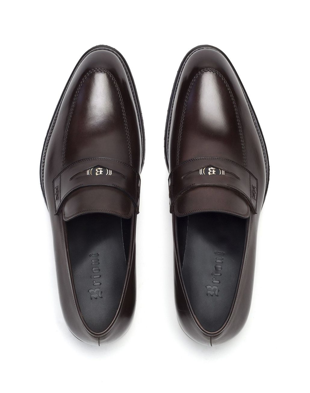 BRIONI Brown Penny Loafer Loafers Man r