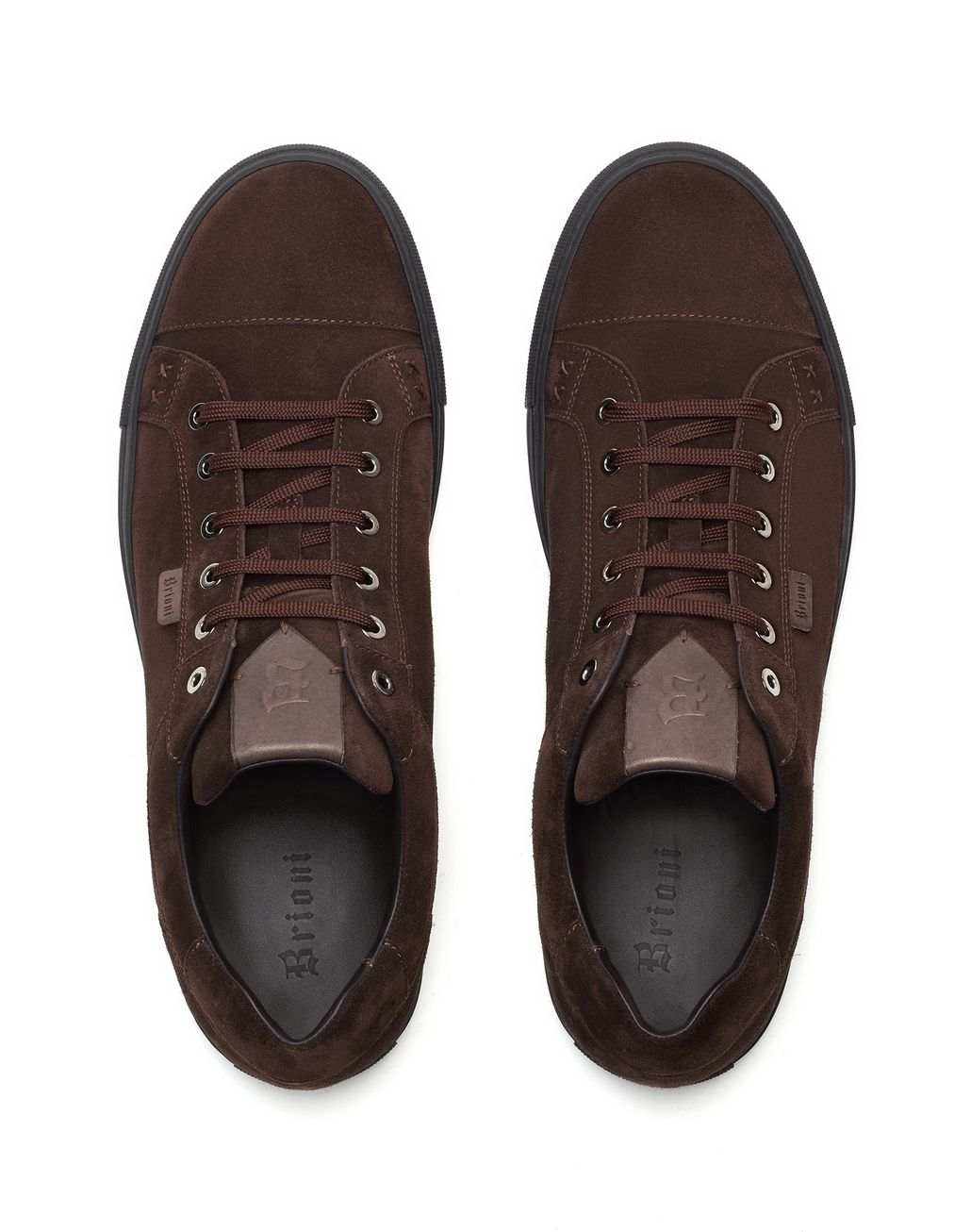 BRIONI Brown Suede Sneakers Sneakers Man r