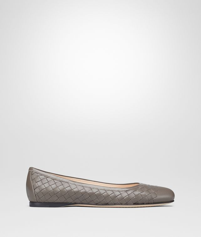 BOTTEGA VENETA PEGGY BALLERINA IN STEEL INTRECCIATO NAPPA Flat Woman fp