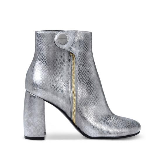 环保蛇皮银色踝靴