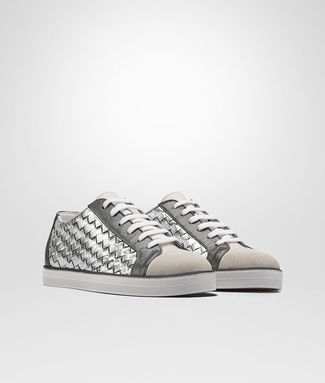 BOTTEGA VENETA SAIL SNEAKER IN MIST ARGENTO ANTIQUE LIGHT SILVER CALF, INTRECCIATO DETAILS Trainers D fp