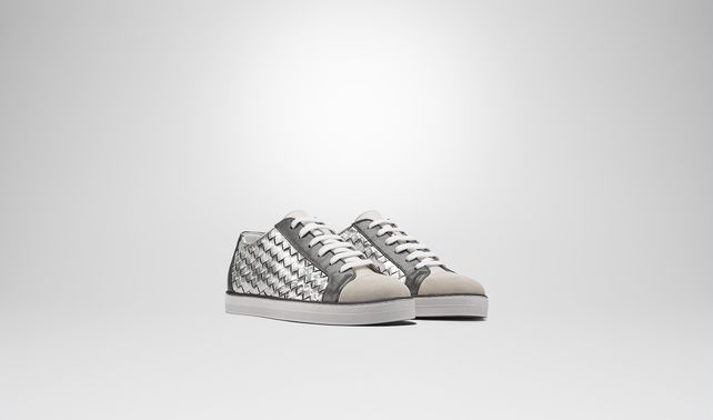 SAIL SNEAKER IN MIST ARGENTO ANTIQUE LIGHT SILVER CALF, INTRECCIATO DETAILS