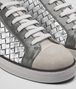 BOTTEGA VENETA SAIL SNEAKER IN MIST ARGENTO ANTIQUE LIGHT SILVER CALF, INTRECCIATO DETAILS Trainers D ap
