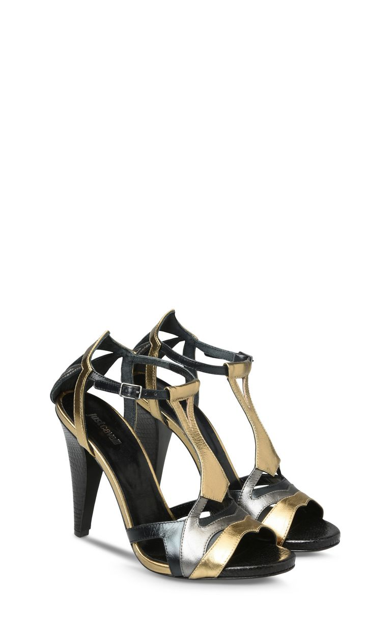 JUST CAVALLI Cone-heel sandals with buckle High-heeled sandals D r