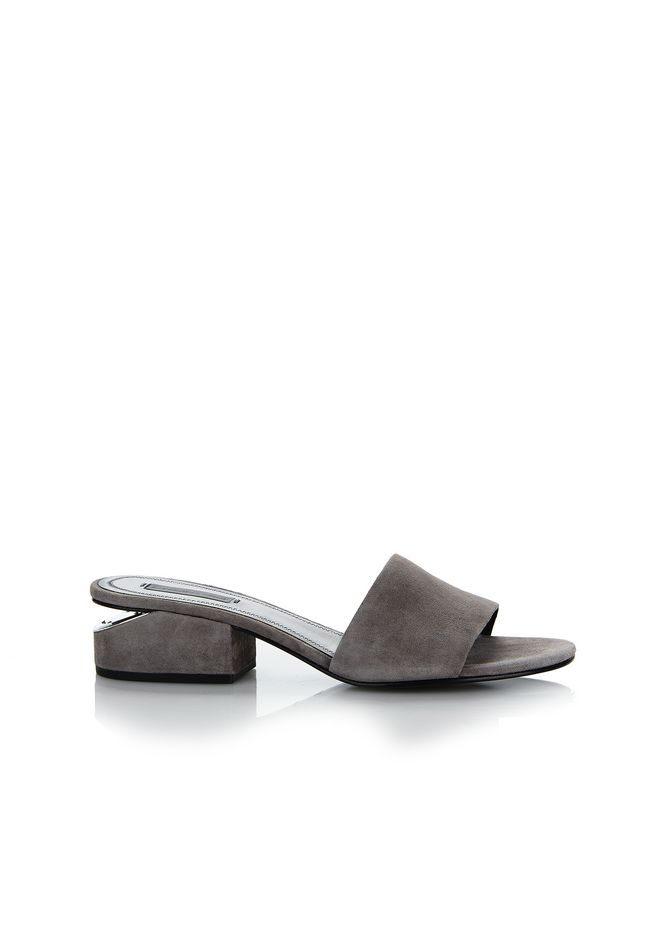 ALEXANDER WANG FLATS EXCLUSIVE LOU SUEDE SANDAL WITH RHODIUM