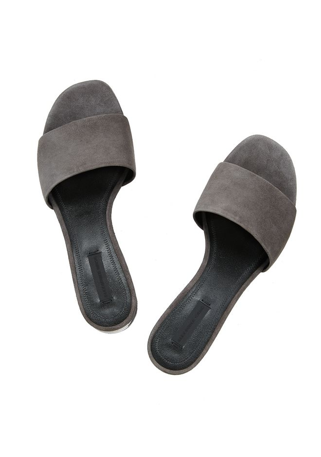 ALEXANDER WANG EXCLUSIVE LOU SUEDE SANDAL WITH RHODIUM 平底鞋 Adult 12_n_d