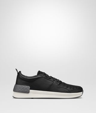 BV GRAND SNEAKER IN NERO CALF AND FABRIC