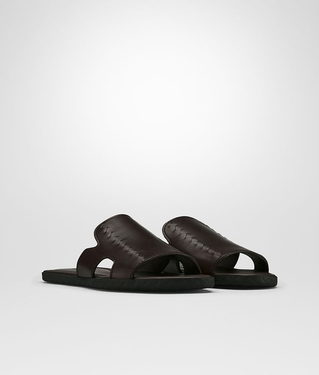 BOTTEGA VENETA PLAGE SANDAL IN ESPRESSO CALF Sandals Man fp