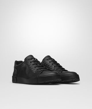 THIBO' LACE UP SNEAKER IN NERO CALF, INTRECCIATO DETAILS