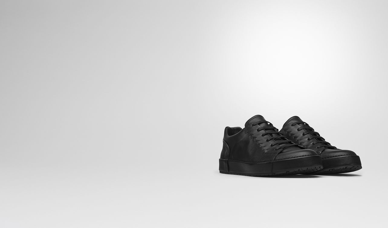 thibo' lace up sneaker in nero calf, intrecciato details landing