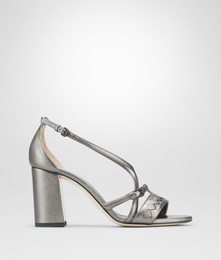 CHERBOURG SANDAL IN ARGENTO ANTIQUE NAPPA, INTRECCIATO DETAILS