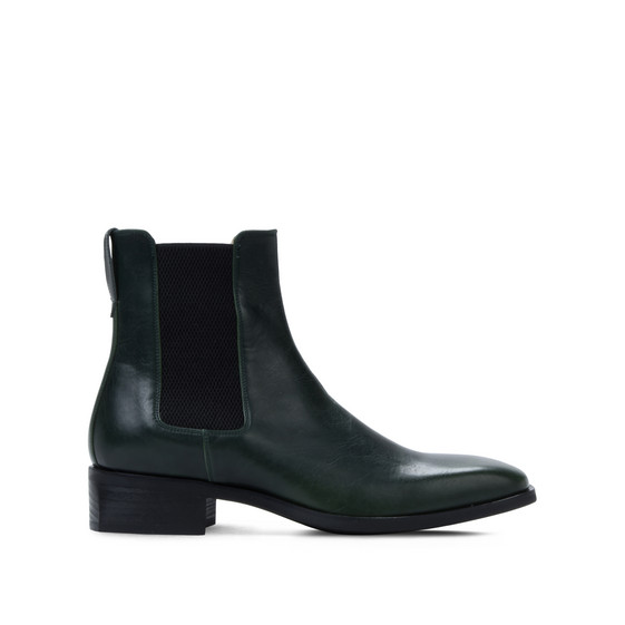 Green Polished Chelsea Boots