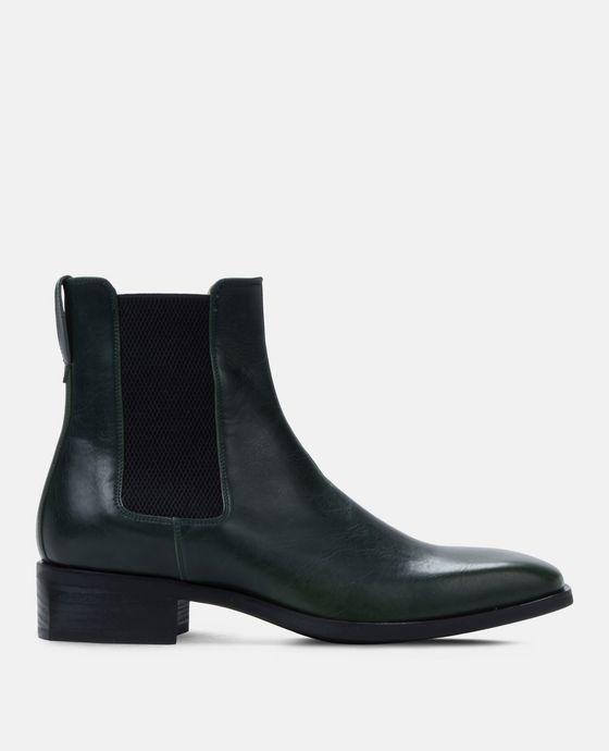 绿色抛光切尔西靴