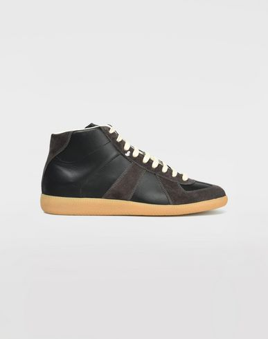 SHOES High top calfskin Replica sneakers Black