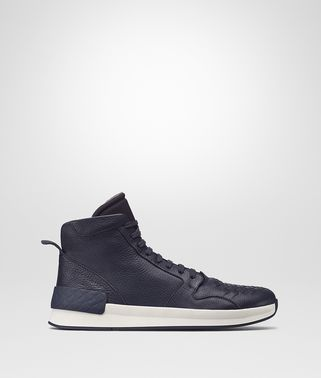 BV GRAND HIGH SNEAKER IN DARK NAVY CALF AND FABRIC