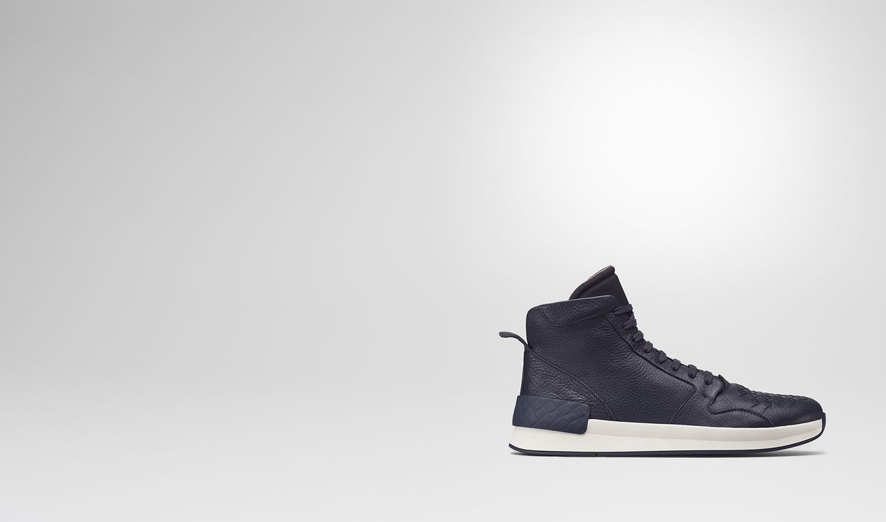 bv grand high sneaker in vitello dark navy e tessuto , intrecciato landing