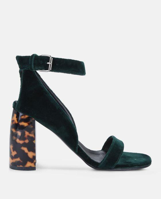 Sandales à talon en velours vert