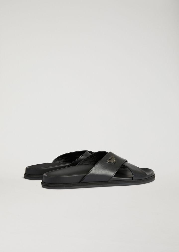 6f4dfbc5762 EMPORIO ARMANI Leather Sliders With Logo Sandals Man b