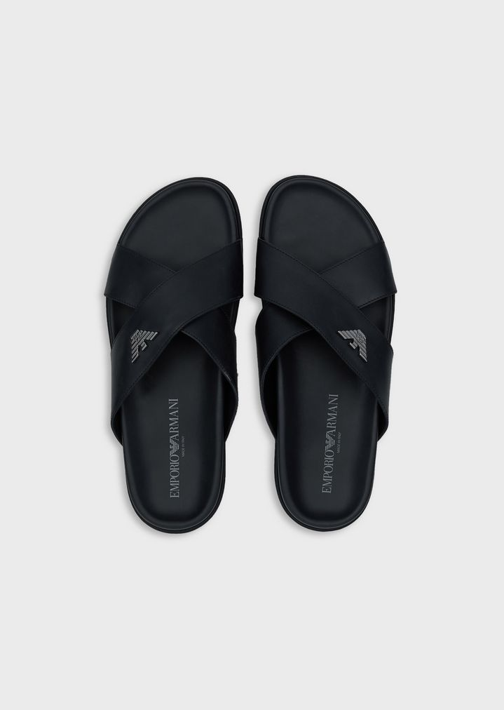 2eb31a44660 EMPORIO ARMANI Leather Sliders With Logo Sandals Man r
