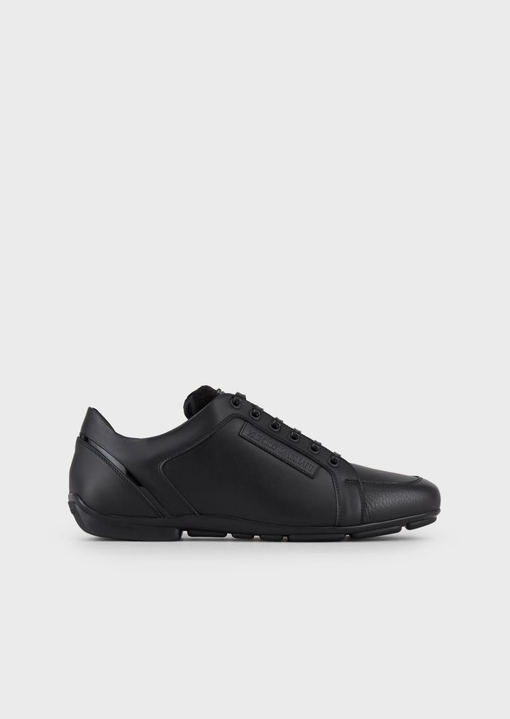 e0f64fc86 Tumbled leather sneakers | Man | Emporio Armani