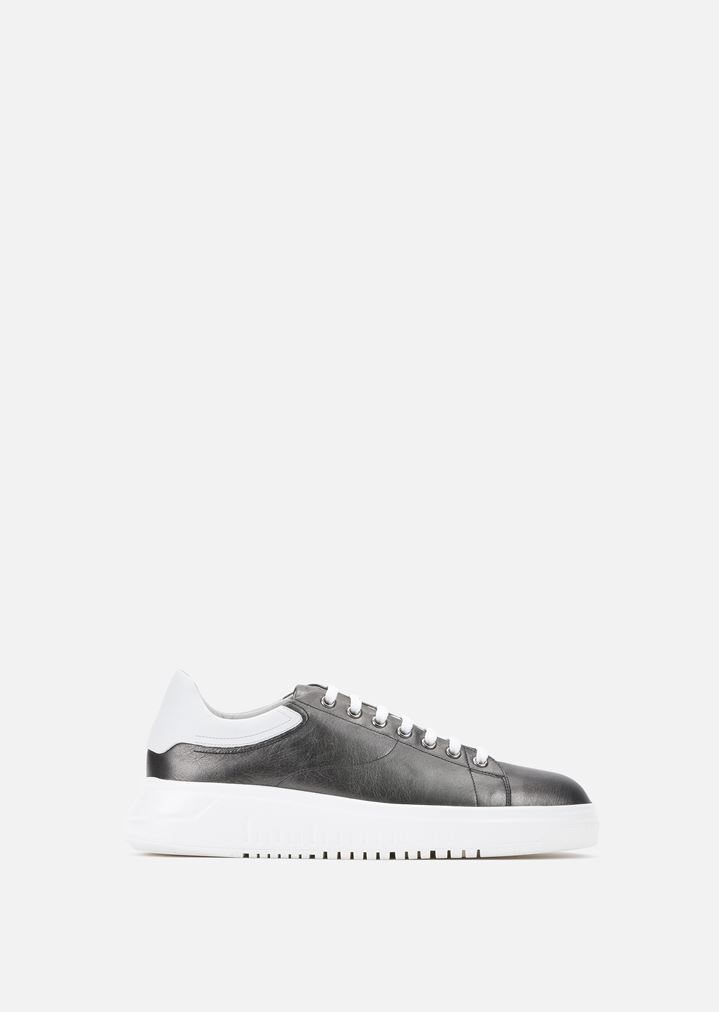 1af8f7391 NAPA LEATHER SNEAKERS WITH THICK SOLE | Woman | Emporio Armani