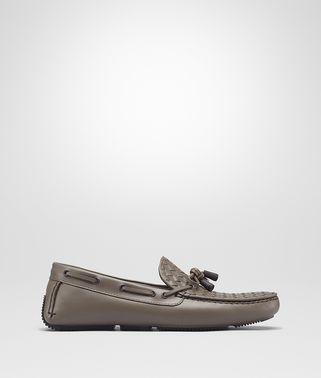 金属灰编织小牛皮驾车鞋