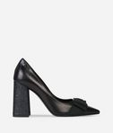 Stacked Heel Bow Front Pump