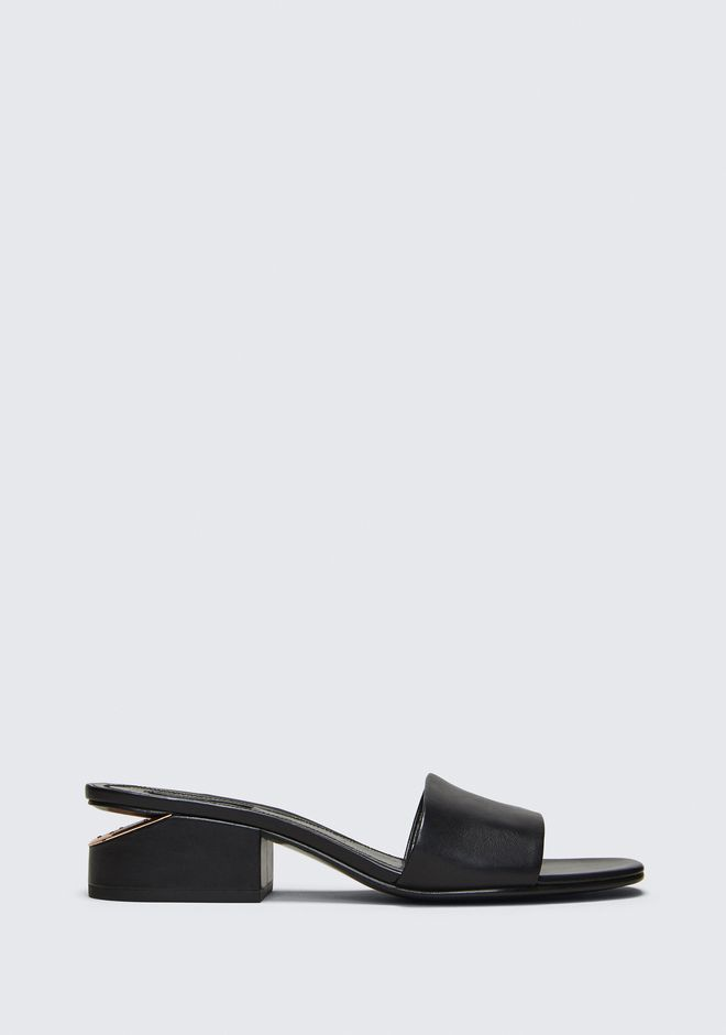 Lou Leather Low-Heel Slides in Black