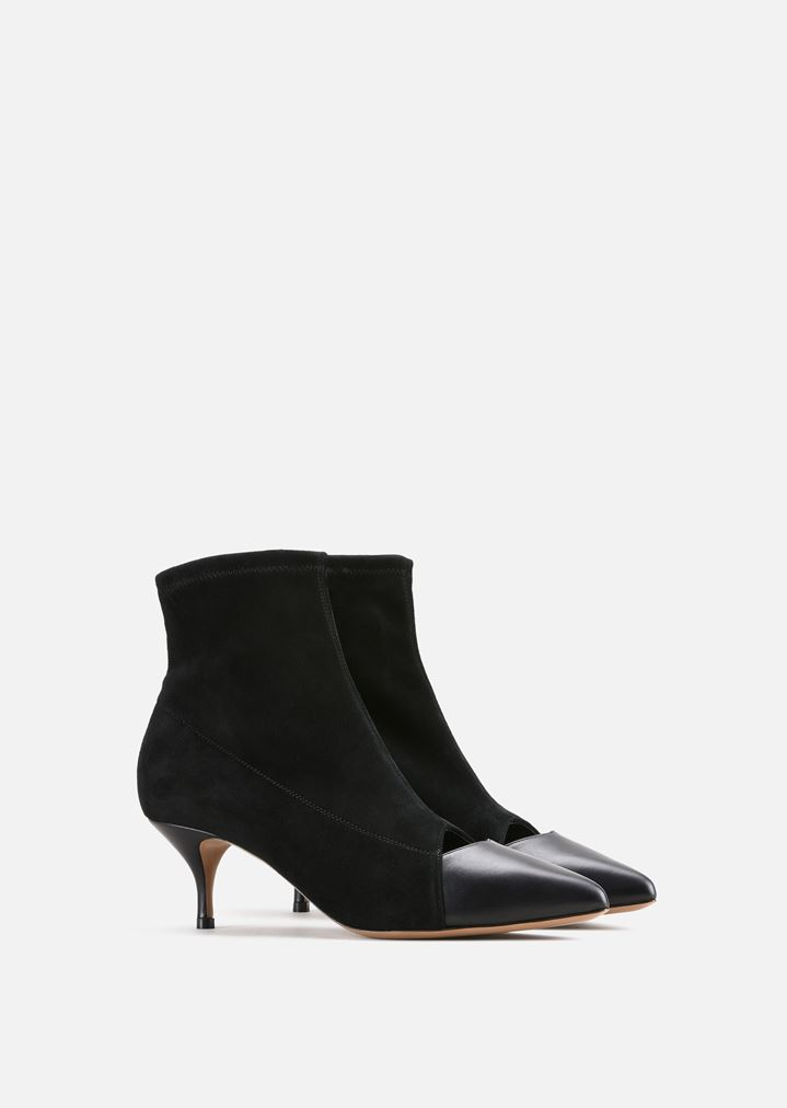 c808550e198 CUT-OUT ANKLE BOOTS IN STRETCH LEATHER AND SUEDE
