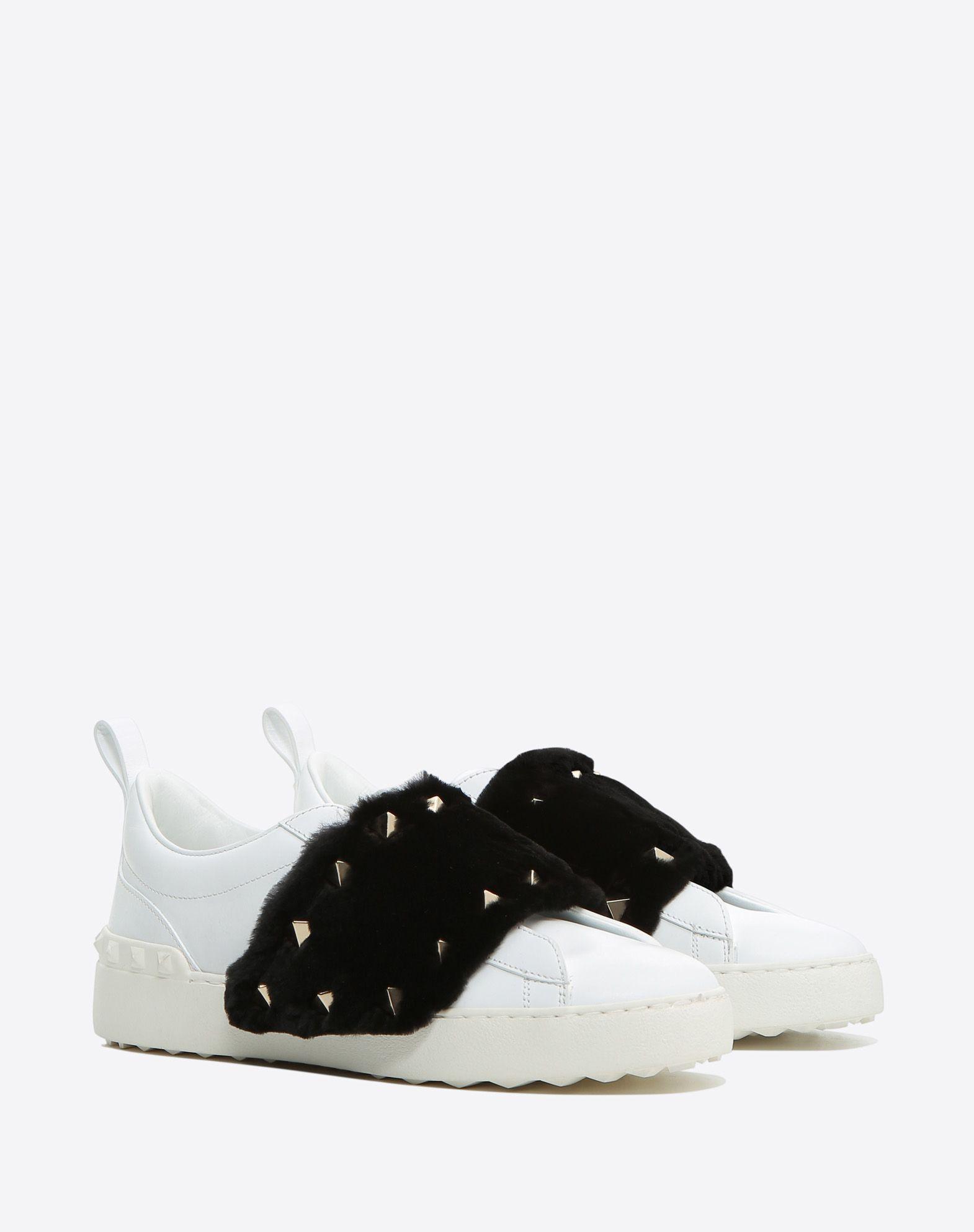 fur and stud sneakers - White Valentino eLlak